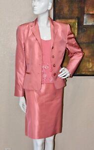 Oscar de la Renta Haute Couture 100% Silk 3pc Skirt Suit Size 12 Petite