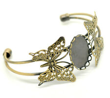 Bracelet bronze papillon supports cabochon filigrane
