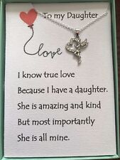 Sterling Silver Plated Angel Pendant Necklace w/ Daughter Poem