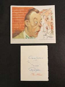 Vintage FRED ALLEN Signed Autograph Signature + 1947 NBC Sam Berman caricature