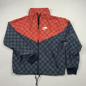 Nike NSW Windrunner Jacket w/ Packable Hood Red Gray Check Full Zip