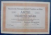 Bauxitwerke AG Frankfurt am Main Aktie 1000 Mark 1920 unentwertet + Kupons