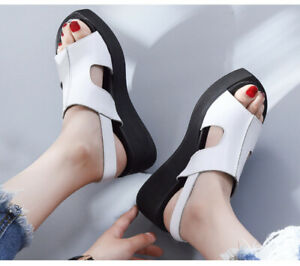 Women Roman Chunky Wedge Heels Platform Flip Flops Roman Thong Sandals Slippers