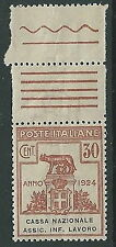 1924 REGNO PARASTATALI CASSA NAZIONALE LAVORO 30 CENT LUSSO MNH ** - M37-8