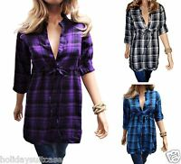 Ladies womans winter brushed cotton warm work tunic check checkered top 8-14