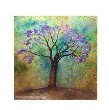 Jacaranda Tree Acrylic Original Painting Texture Bespoke Artwork By Kenna