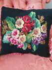 Antique Victorian needlework tapestry cushion / pillow superb condition