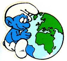 Bande dessinée pin/broches-SCHTROUMPF/SMURF avec globe terrestre © Peyo-holzpin!!! (4054e)