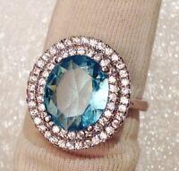 bague argent 925 rhodié style joaillerie cristaux diamant quartz topaze T.57