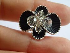 2 large black flower crystal buttons rhinestone diamante upholstery sewing clear