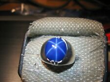SIGNED MENS HUGE BLUE 14X12 LINDE STAR SAPPHIRE RING 925 STERLING SILVER SIZE 9