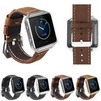 Genuine Leather Wrist Watch Band Strap + Metal Frame for Fitbit Blaze