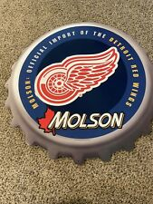 """Vtg Detroit Red Wings Molson Hockey Embossed Metal Sign 24"""" X 24"""" Beer Cap"""