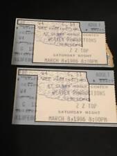 Vintage Rock Concert Ticket Stub Zz Top 1986 March 8 Beaver Production 2 Two