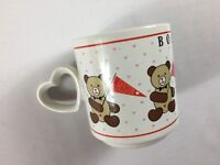 Boston Bears Coffee Mug VTG 1985 Cup Hearts Handle Love 80s Teddy Drink Tea Gift