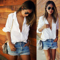 Sexy Women Ladies Long Sleeve Loose Blouse Summer V Neck Casual White Shirt Tops