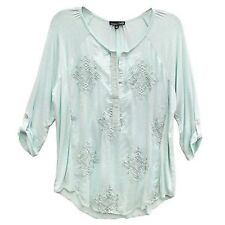RXB Women's Size 2X-Large Roll Tab 3/4 Sleeve Sheer Knit Top, Mint