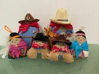 Wini Southwest 6 Doll Lot Vtg Malinski OOAK Cowboy Native American Indian Navajo
