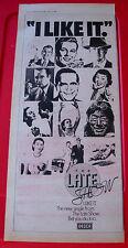 "The Late Show I Like It Vintage ORIGINAL 1978 Press/Magazine ADVERT 17.5""x 7.5"""