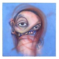 "Original Art ""dustedpat"" Outsider Urban Graffiti Trippy Surreal Portrait Oil"