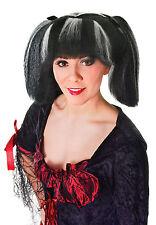 Ladies Black & White Streak Wig In Bunches Steampunk Cosplay Fancy Dress Prop