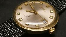 Vintage MOVADO President TEMPEST MATIC Date Swiss Men's Watch 10K Gold Case SS