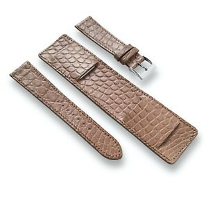 Genuine Alligator Leather Watch Band Strap - Paul Newman Bund Style - 20mm 19mm