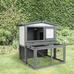 2 Tier Wooden Rabbit Hutch Slide Out Tray Openable Roof 101.5 x 90 x 100 cm