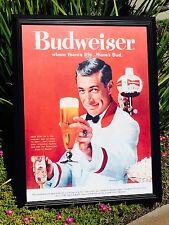 "Budweiser Vintage Look Poster Beer Bar Pub Glass Frame Mirror Man Cave  ""New"""