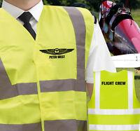 Personalised Aviation CPL PPL Pilot Hi-Visibility Airside Vest