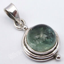 """925 Solid Silver Sparkling GREEN APATITE OLD STYLE Small Pendant 1"""" UNUSUAL"""