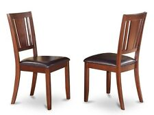 Set of 6 Dudley dinette kitchen dining chairs with leather seat in mahogany