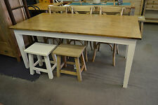 French Provincial  Hamptons solid  Oak Dining Table with White legs 180x90