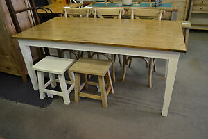 French Provincial  Hamptons solid  Oak Dining Table with White legs 210x100