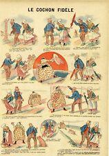 """""""LE COCHON FIDELE"""" Planche originale d'Imagerie entoilée B. GAUTIER 32x43cm"""
