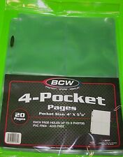 (20) 4 POCKET PAGES FOR POSTCARDS, PHOTOS, COUPONS, ARCHIVAL SAFE-CRYSTAL CLEAR