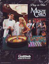 Gottlieb Premier MONTE CARLO '86 Original NOS Flipper Game Pinball Machine Flyer