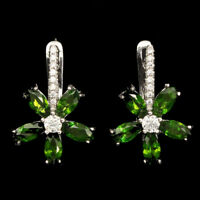 Unheated Marquise Green Chrome Diopside Cz 925 Sterling Silver Earrings