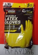 Grease Monkey 24500-012 Reusable Latex Gloves Large/Xl 5-Pk-Free Ship!