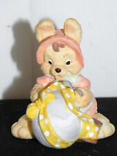 """Estate= Resin Bunnie Girl holding a Easter Egg all Wrapped up in a Bow 2-1/2""""T"""