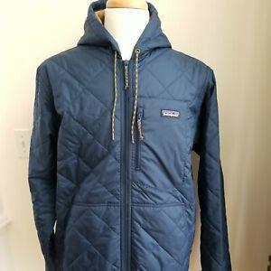 Patagonia Men's Medium Diamond Quilted Bomber Hoody Jacket. Stone Blue