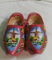 Pair of Wooden Dutch Shoes Clogs Natural Wood Windmill/Floral Pattern Holland