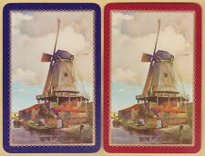 2 Single VINTAGE Swap/Playing Cards DUTCH WINDMILL SCENE PEOPLE BOATS