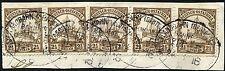 12/Deutsch-Ostafrika DOA 1916 Bahnpost Mittellandbahn Zug 5b 5x auf Briefstück