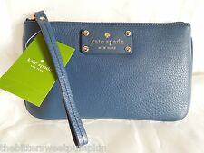 KATE SPADE~Berkshire Road~Zippered Chrissy~DARK LAPIS Leather Wristlet~$128~NEW!