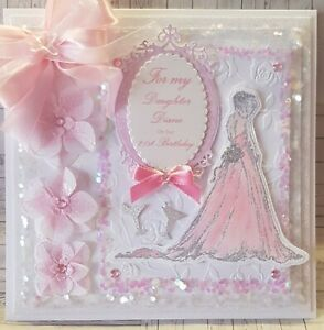 """Large Luxury """"8x8 Handmade Personalised 21st-18th-16th Girls Birthday boxed card"""