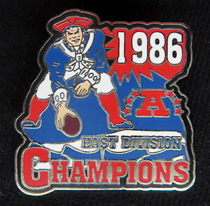 NEW ENGLAND PATRIOTS ~ 1986 AFC East Division CHAMPIONSHIP PIN ~ Willabee & Ward