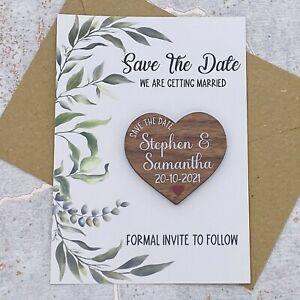Personalised Leafs Save The Date Walnut Heart Fridge Magnet Wedding Card Invite.