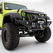 07-17 Jeep JK Wrangler Rock Crawler Front Bumper W/Winch Plate-Black Textured.