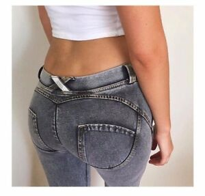 NEW Women Denim Freddy Jeans Trousers Sexy Tight Hip Push Up Pencil Pants S-3XL